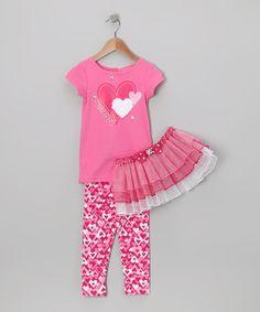 Pink 'Sweet' Heart Tutu Set - Infant, Toddler & Girls