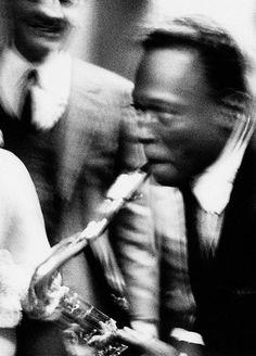 Rare photo of Miles Davis playing the tenor sax, Milan, 1964. Photo by Roberto Polillo