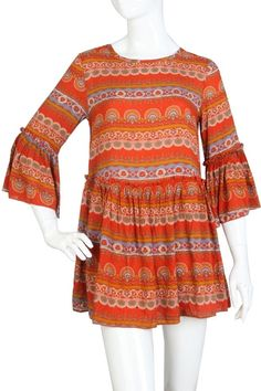 PLUS SIZE TUNIC  RUST Print  with pleated layer 3//4 SLEEVE.- 2X #SSC #Tunic