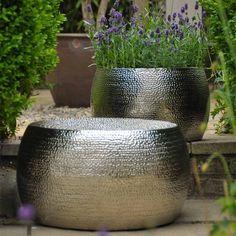 Marrakech Embossed Metal Round Set Of Two Stool, Planters, Table, Indoor/Outdoor | eBay