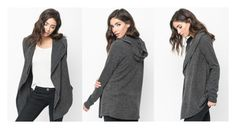"""Black hooded cardigan - Caralase"" by caralasefashion ❤ liked on Polyvore"