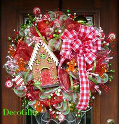Wimsical GINGERBREAD HOUSE CHRISTMAS Wreath by decoglitz on Etsy