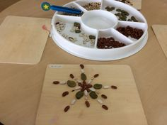Jack and the Beanstalk transient art with seeeds and beans fine motor skills EYFS