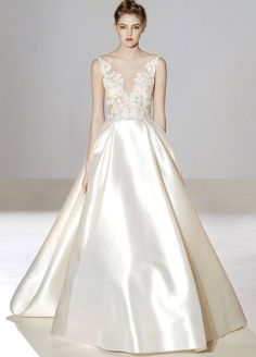 Lazaro | A romantic princess wedding dress with lace embroidered bodice & side pockets