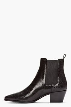 SAINT LAURENT Black Lizard-Embossed Leather CAvaliere Chelsea Boots