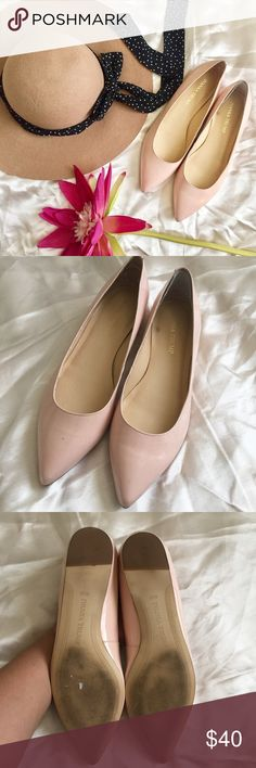 Ivanka Trump Pointy Light Pink Glossy Flats Adorable I.T point flats. Very high quality and perfectly on trend. Size 8 1/2M. Has some markings on the front of the shoes, like a blue-ish marking. Shoes have one inside patch for more comfort( one one shoe has this) . Please reference photos for condition. Thank you! Ivanka Trump Shoes Flats & Loafers