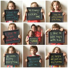 Have your kids hold up signs (or a small chalkboard if you have one) of why they…