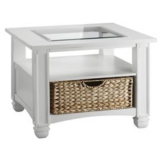 Nantucket Cottage White and Sea-grass Drawer End Table - Overstock™ Shopping - Great Deals on Coffee, Sofa & End Tables