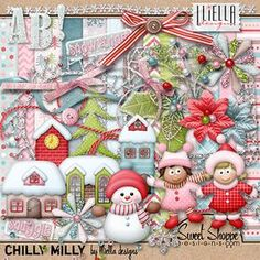 Lliella Designs & Sweet Shoppe Designs Winter Child Layout with Alpha: Chilly Milly Leaf Template, Flower Template, Owl Templates, Crown Template, Applique Templates, Applique Patterns, Free Digital Scrapbooking, Digital Papers, Digital Stamps