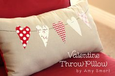 Valentine heart garland quilt pillow