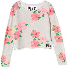 Victoria's Secret Shrunken Crew ($33) ❤ liked on Polyvore featuring tops, sweaters, shirts, jumpers, heather silver flower print, crew neck sweaters, victoria secret sweaters, graphic shirts, beach shirts and floral sweater