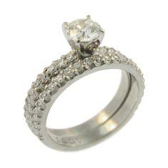 77f27f509b7 18ct White Gold Round Brilliant Cut Diamond Engagement and Wedding Ring.  Handmade at Cameron Jewellery