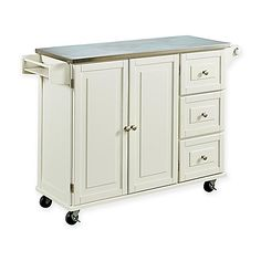 Enjoy more space for eating or food prep with the Home Styles Liberty Kitchen Cart with Wood Top. The drop-leaf breakfast bar is accompanied by 2 adjustable shelves in each cabinet door, 3 storage drawers, towel bar, spice rack, and casters for mobility.