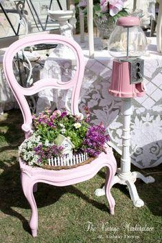 One Upon a Time Vintage, pink, vintage, chair, gar. Garden Deco, Garden Art, Backyard Projects, Garden Projects, Shabby Chic Style, Shabby Chic Decor, Vintage Pink, Chair Planter, Flea Market Gardening