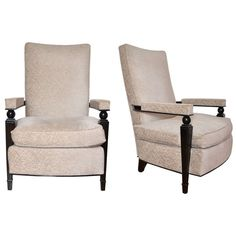 Pair of Armchairs by Maison Dominique | From a unique collection of antique and modern lounge chairs at https://www.1stdibs.com/furniture/seating/lounge-chairs/