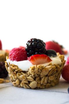 These Fruit and Yogurt Granola Cups are super easy to make for breakfast! Fill with your favorite yogurt and fresh fruits for a complete healthy meal!
