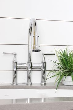 Modern Farmhouse Kitchen Makeover with Elkay Bridge Faucet