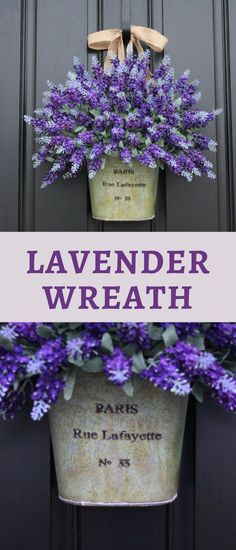 Front door floral bucket wreath, farmhouse style decor, purple lavender, in galvanized bucket, Paris, shabby chic or french country style, cute spring or summer decor idea for a Joanna Gaines or Fixer Upper fan. #affiliate