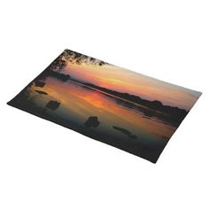 "Sunset Reflections Placemat by JeanettesOzpix....  Complete your dining table setting with American MoJo custom place mats from Zazzle. These 100% woven cotton place mats are designed to complement any dining room theme. Vibrantly printed in full color... produced by sustainably employed single moms in the USA and contribute to breaking the cycle of poverty for single moms and their children.  (20""x14""... 100% woven cotton.... Machine washable)"