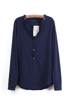 V-neck Long Sleeve Loose Blouse  #6ks