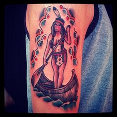 Sailor Jerry style pinup indian girl