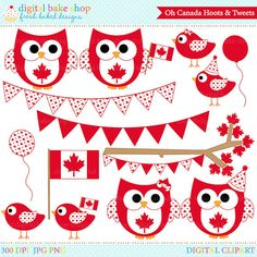 canada day clipart owls birds canadian clip art von DigitalBakeShop Canada Party, Canada Day Crafts, Canadian Christmas, Love Holidays, Cute Clipart, Owl Bird, Time To Celebrate, Punch Art, Crafty Projects