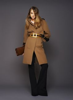 coat with a belt. Cute touch.