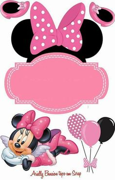 Minnie Mouse Birthday Decorations, Minnie Mouse Theme Party, Minnie Mouse 1st Birthday, Minnie Mouse Cake, Mickey Party, Mouse Parties, Baby Mickey, Diy And Crafts, Stickers