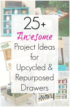 Empty drawers from a dresser or cabinet are PERFECT for upcycling and repurposing DIY projects, and this collection of project ideas for upcycled and repurposed drawers that Sadie Seasongoods compiled will surely inspire you. From home decor, to organization and storage projects, to planters for your garden, check out www.sadieseasongoods.com for all sorts of craft project inspiration. #upcycle #repurposed #repurposeddrawer #upcycled #drawer #drawers #thriftstore #upcycling