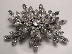 VINTAGE 1950s BROOCH SIMPSON SIGNED RHODIUM PLATED & RHINESTONES Antique Jewelry, Rhinestones, 1950s, Plating, Brooch, Jewels, Jewellery, Antiques, Vintage