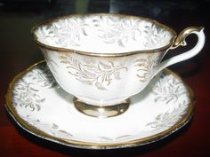 ROYAL ALBERT FANCY TEA CUP AND SAUCER WHITE BRUSHED GOLD FERN CHINTZ