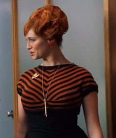 Mad Men - Joan Holloway - Christina Hendricks - Orange Stripes