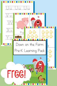 Down on the Farm Pre-K Learning Pack Free Down on the Farm Pre-K Learning Pack - Year Round HomeschoolingFree Down on the Farm Pre-K Learning Pack - Year Round Homeschooling Pre K Curriculum, Preschool Curriculum, Preschool Lessons, Preschool Learning, Homeschooling, Kindergarten, Preschool Prep, Preschool Themes, Pre K Worksheets