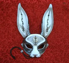 """a new """"March-Of-Time Hare"""". Clockwork bunny mask in black and white with silver. March-Of-Time Hare Arte Steampunk, Steampunk Cosplay, Kitsune Mask, Bunny Mask, Japanese Mask, Leather Mask, Cool Masks, Animal Masks, Masks Art"""