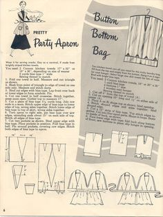 """pretty party apron & button-bottom bag from """"Make it with Towels"""" by Cannon Mills, Inc"""