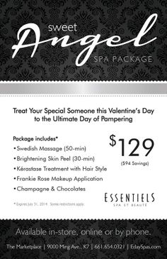 HAPPY VALENTINE'S DAY! We still have a few packages left...Don't forget to get one for your SWEET ANGEL this Valentine's Day 661.654.0321