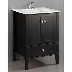 WYNDENHALL Windham Black 2-door 24-inch Bath Vanity Set with
