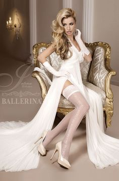Ballerina Ivory Hold Up Stockings 257 |Hold Up Stockings |Ballerina Hosiery | Charm and Lace - 1