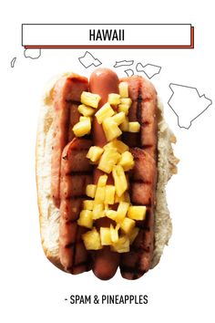 Sliced Spam and chopped pineapples live together happily ever after in this Hawaiian hot dog. Aloha.