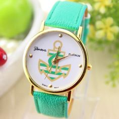 Mint Vegan Leather Anchor Watch Mint vegan leather and gold anchor watch, gold, Synthetic costume jewelry.  No trades.  Price firm unless bundled.  Bundle 3 or more items for 15% off  Boutique Accessories Watches