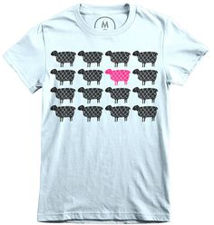 """Be You"" flock of sheep design by Lisa Congdon. Limited edition t-shirts in 3 colors!"