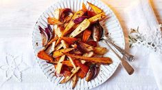 The combination of chilli and honey gives a delicious sweet and spicy flavour to traditional Christmas root veg Roasted Vegetable Recipes, Veg Recipes, Cooking Recipes, Healthy Recipes, Savoury Recipes, Healthy Food, Recipies, Healthy Eating, Veg Dishes