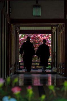 Monks at Hase-dera temple, Nara, Japan