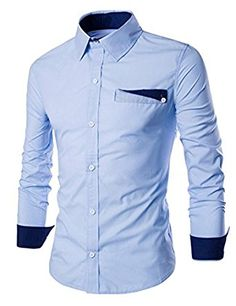 Simple Special One Pocket Color Splicing Shirt Collar Long Sleeves Slimming Shirt For Men Formal Shirts For Men, Casual Shirts, Men Shirts, African Shirts For Men, Mens Designer Shirts, Men Dress, Shirt Dress, Stylish Mens Outfits, Shirt Style