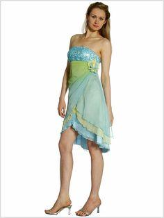 Wedding Guest Dresses Sheath Short Length Strapless Ombre Blue Chiffon Floral Wedding Guest Dresses - Dress Inspiration for Women