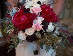 San Diego Wedding Flowers: Rustic hand tied bridal bouquet with red peonies, burgundy flowers, eucalyptus, pink and blush roses.