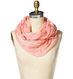 Pink Lace Infinity Scarf