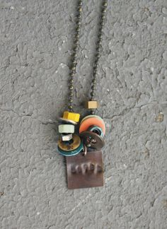 Painted Hardware Necklace by BrownFinches on Etsy