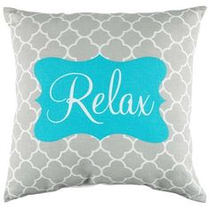 "Kick your feet up and relax! Turquoise, Gray & White Relax Linen Pillow is perfect for bay windows, couches, dens, guest rooms, and more.    	It features a gray and white quatrefoil background with a turquoise ornate center and the word ""relax"" in beautiful white script. Give your head a place to rest and relax.    	     	Dimensions:    	  		Length: 16""  	  		Width: 16""      	     	100% Polyester."
