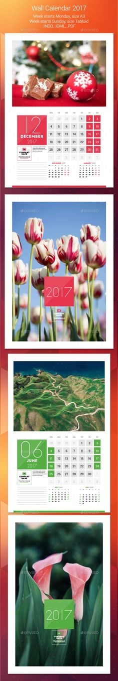 Wall Calendar 2017 Template 	InDesign INDD. Download here: https://graphicriver.net/item/wall-calendar-2017/17421480?ref=ksioks